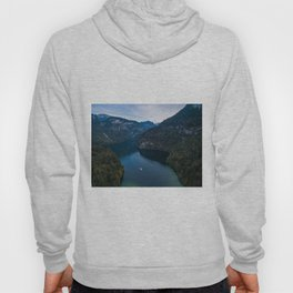 königssee waterfall alps bayern forrest drone aerial shot nature wanderlust boat mountains panorama Hoody