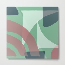 Mid-Century Modern in Minty Green and Mauve-Pink Pattern Metal Print
