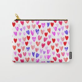 Watercolor Hearts pattern love gifts for valentines day i love you Carry-All Pouch