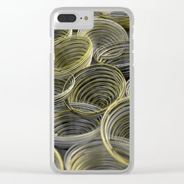 Black, white and yellow spiraled coils Clear iPhone Case