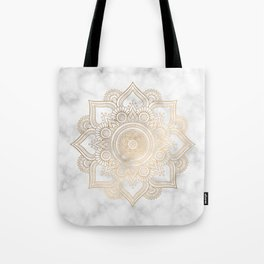 Marble Gold Mandala Design Tote Bag