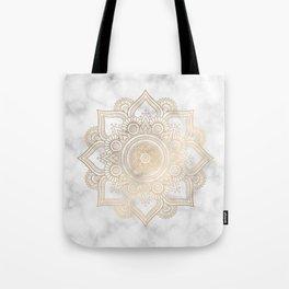 Marble Gold Mandala Design Tote Bag