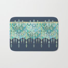 Art Deco Double Drop in Blues and Greens Bath Mat