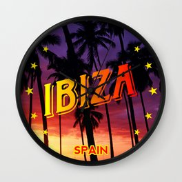 Ibiza, summer sunset, circle Wall Clock
