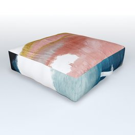 Exhale: a pretty, minimal, acrylic piece in pinks, blues, and gold Outdoor Floor Cushion