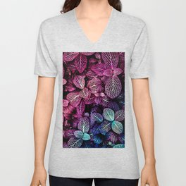 Abstract burgundy red blue gradient watercolor foliage Unisex V-Neck