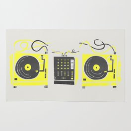 DJ Vinyl Decks And Mixer Rug