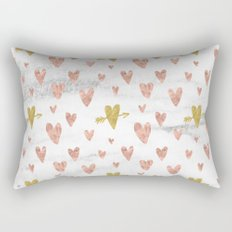 Valentines Day Rose Gold Marble Hearts Design Pattern Rectangular Pillow
