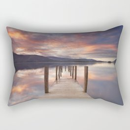 Flooded jetty in Derwent Water, Lake District, England at sunset Rectangular Pillow