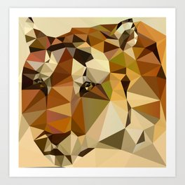 Tiger - Abstract Art Low Poly Animals Art Print