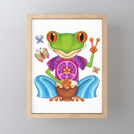 Peace Frog - Colorful Hippie Frog Art by Thaneeya McArdle Framed Mini Art Print