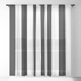 Black & White Vertical Stripes - Mix & Match with Simplicity of Life Sheer Curtain