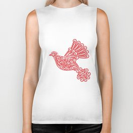 Peace Dove, Red and White Biker Tank