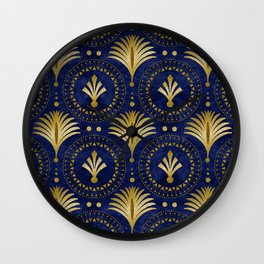 Art Deco Blue And Gold Luxury Wall Clock