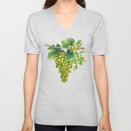 Watercolor bunches of white grapes hanging on the branch Unisex V-Neck