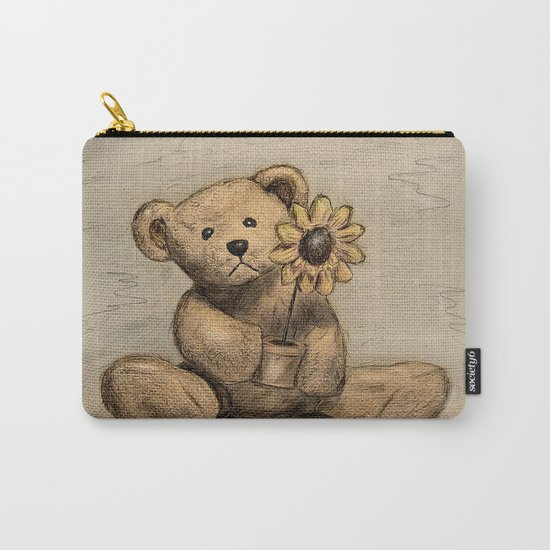 Teddybear with a sunflower Carry-All Pouch