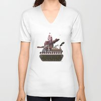 military V-neck T-shirts featuring Military-Industrial Complex by James Tuer