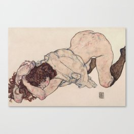 KNEELING GIRL, RESTING ON BOTH ELBOWS - EGON SCHIELE Canvas Print