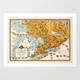 1929 Vintage Map of Ontario  Art Print