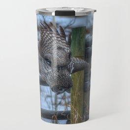 Dive, Dive, Dive! - Great Grey Owl Hunting Travel Mug