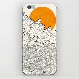 The great sun over the sea cliffs iPhone Skin