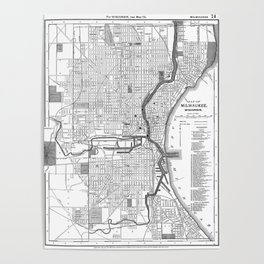 Vintage Map of Milwaukee Wisconsin (1891) BW Poster