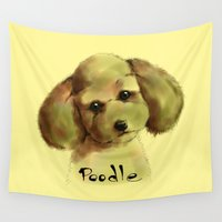 poodle Wall Tapestries featuring Poodle by Det Tidkun