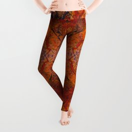 Branches Aflame with Flower Leggings