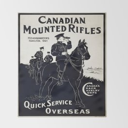 Vintage poster - Canadian Mounted Rifles Throw Blanket