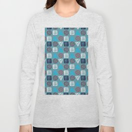 Modern abstract hand painted blue white geometrical pattern Long Sleeve T-shirt