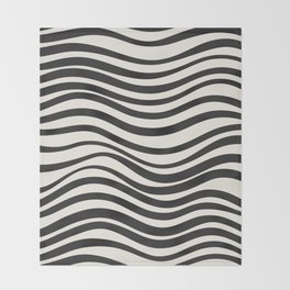 Wavy lines black and white Throw Blanket