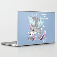 kermit Laptop & iPad Skins featuring Fanart: Kermit The Unicorn by craziiwolf