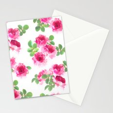 Raspberry Pink Painted Roses on White Stationery Cards