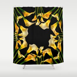 Golden Calla Lilies Black Garden Art Shower Curtain