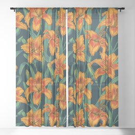 Orange lily flowers Sheer Curtain