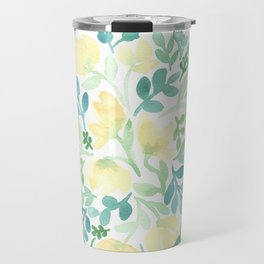 Yellow and Blue Floral Circle Travel Mug