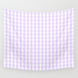 Chalky Pale Lilac Pastel and White Gingham Check Plaid Wall Tapestry