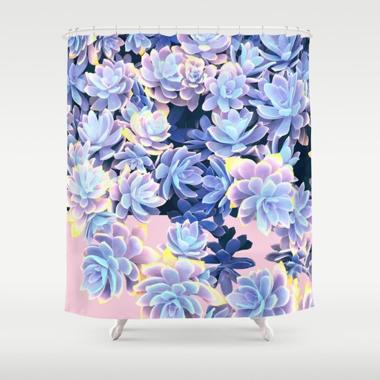 Cactus Fall Blue And Pink Shower Curtain By Dominique Vari Society6