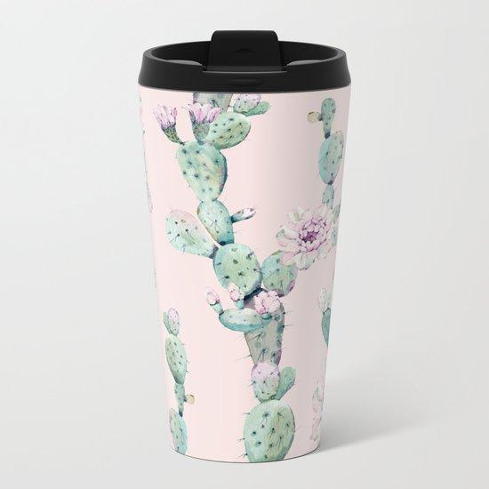 Cactus Rose Pattern on Pink Metal Travel Mug