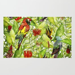 My tropical Summer Flowers and Birds Garden - Jungle Pattern Rug