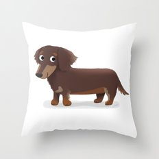 Longhaired Dachshund - Cute Dog Series Throw Pillow