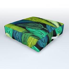 Watercolor Macrame Feather Toss in Black + Green Outdoor Floor Cushion