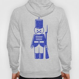 French toy soldier with shotgun, drawing with letterpress effect. Hoody