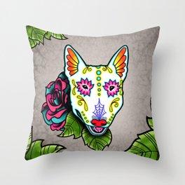Bull Terrier - Day of the Dead Sugar Skull Dog Throw Pillow