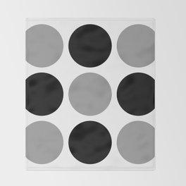Mid Century Modern Polka Dot Pattern 9 Black and Gray Throw Blanket