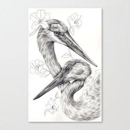 Azaleas/Cranes Canvas Print