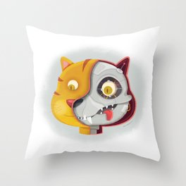 Cyborg cat Throw Pillow