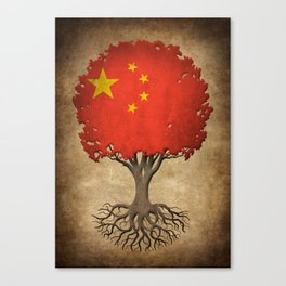 Vintage Tree of Life with Flag of China Canvas Print