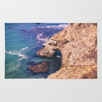 big sur Area & Throw Rugs featuring Big Sur California Cliffs by Bethany Young Photography