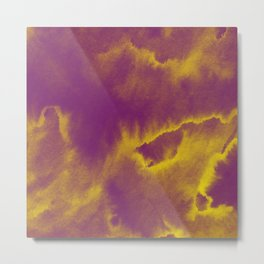 Watercolor texture - purple and yellow Metal Print